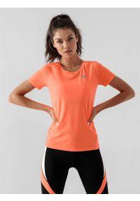 4f - Koszulka do biegania szybkoschnąca damska. Kolor: pomarańczowy. Materiał: dzianina, skóra. Długość rękawa: raglanowy rękaw. Sport: fitness