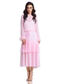 Różowa sukienka wizytowa Lemoniade maxi, z falbankami, boho