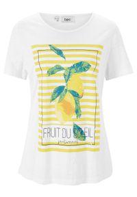 Shirt z krótkim rękawem bonprix biały w graficzny wzór. Kolor: biały. Materiał: bawełna. Długość rękawa: krótki rękaw. Długość: krótkie. Wzór: nadruk