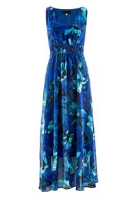 Niebieska sukienka bonprix maxi, z nadrukiem