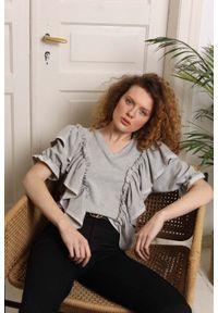 Nommo - Prosta Koszula z Bufiastym Rękawem - Szara. Kolor: szary. Materiał: bawełna