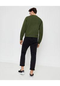 Kenzo - KENZO - Zielona bluza z haftowanym tygrysem. Kolor: zielony. Materiał: prążkowany, bawełna. Długość rękawa: długi rękaw. Długość: długie. Wzór: haft. Styl: klasyczny, sportowy