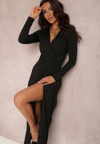 Renee - Czarna Sukienka Agathelle. Kolor: czarny. Wzór: aplikacja. Typ sukienki: kopertowe. Styl: glamour. Długość: maxi