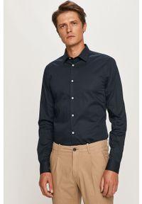 Niebieska koszula Trussardi Jeans długa, z długim rękawem, z klasycznym kołnierzykiem, klasyczna
