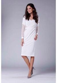 Nommo - Ecru Elegancka Ołówkowa Sukienka z Prześwitującymi Detalami. Materiał: wiskoza, poliester. Typ sukienki: ołówkowe. Styl: elegancki