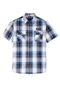Koszula z krótkim rękawem Slim Fit bonprix ciemnoniebiesko-biało-lazurowy w kratę. Kolor: niebieski. Długość rękawa: krótki rękaw. Długość: krótkie