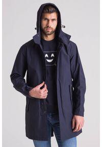 Emporio Armani - Granatowy wodoodporny płaszcz męski. Kolor: niebieski. Materiał: wełna #6