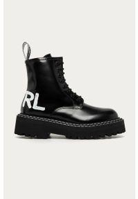 Czarne botki Karl Lagerfeld na średnim obcasie, na obcasie, klasyczne, na sznurówki