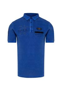 Niebieska koszulka polo Aeronautica Militare polo, militarna, z nadrukiem