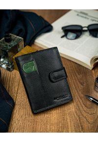 4U CAVALDI - Portfel męski czarny z zieloną wstawką Cavaldi N4L-SCV-RFID BLK+GRE. Kolor: wielokolorowy, zielony, czarny. Materiał: skóra