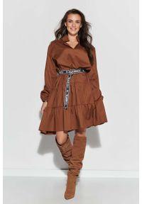 Brązowa sukienka Makadamia z falbankami