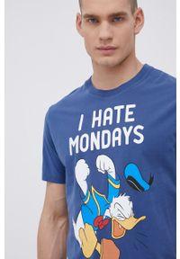 Mc2 Saint Barth - MC2 Saint Barth - T-shirt bawełniany. Okazja: na co dzień. Kolor: niebieski. Materiał: bawełna. Wzór: nadruk. Styl: casual