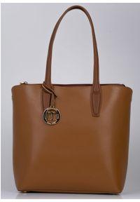 Brązowa torebka Monnari duża, klasyczna, zamszowa