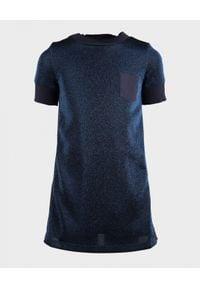 MONCLER KIDS - Sukienka z brokatem 6-12 lat. Kolor: niebieski. Materiał: materiał. Wzór: gładki. Sezon: lato