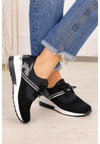 Filippo - Czarne sneakersy filippo skórzane buty sportowe sznurowane dp1388/20bk. Kolor: czarny. Materiał: skóra