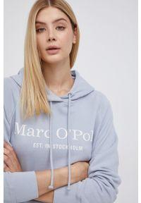 Marc O'Polo - Bluza bawełniana. Typ kołnierza: polo. Kolor: niebieski. Materiał: bawełna. Długość rękawa: raglanowy rękaw. Wzór: nadruk
