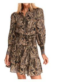 TOP SECRET - Sukienka w nadruk paisley. Kolor: czarny. Materiał: tkanina. Długość rękawa: długi rękaw. Wzór: paisley, nadruk. Sezon: jesień