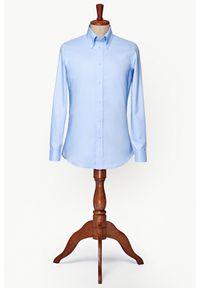 Lancerto - Koszula Niebieska Waterfront. Typ kołnierza: button down. Kolor: niebieski. Materiał: bawełna, tkanina. Wzór: ze splotem. Styl: vintage