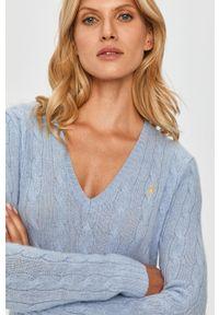 Niebieski sweter Polo Ralph Lauren długi, casualowy, polo