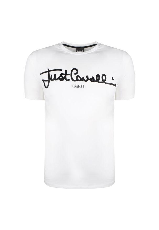 T-shirt Roberto Cavalli na co dzień, casualowy, z okrągłym kołnierzem