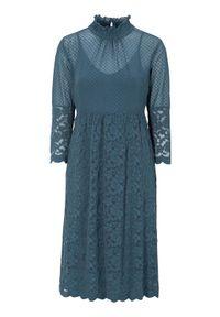 Truly mine Sukienka Gaia niebieski female niebieski S (34/36). Kolor: niebieski. Materiał: jersey, koronka. Długość rękawa: na ramiączkach. Wzór: kropki, koronka. Styl: elegancki