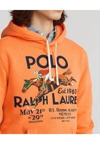 Ralph Lauren - RALPH LAUREN - Pomarańczowa bluza z kapturem Graphic. Typ kołnierza: kaptur. Kolor: pomarańczowy. Materiał: prążkowany, tkanina, bawełna. Wzór: nadruk