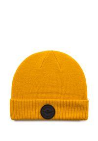 Żółta czapka Aeronautica Militare na zimę, w jednolite wzory