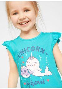 T-shirt dziewczęcy (2 szt.), bawełna organiczna bonprix biel wełny - morski. Kolor: biały. Materiał: wełna, bawełna. Wzór: nadruk