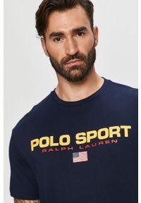 Niebieski t-shirt Polo Ralph Lauren z nadrukiem, polo, casualowy, na co dzień