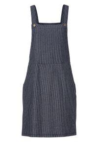 Sukienka ogrodniczka dresowa bonprix niebieski w paski. Kolor: niebieski. Materiał: dresówka. Wzór: paski