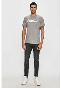 Szary t-shirt Prosto. z okrągłym kołnierzem, z nadrukiem