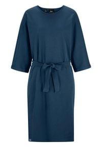 Sukienka z ochroną przed promieniowaniem UV i szerokimi rękawami bonprix ciemnoniebieski. Kolor: niebieski. Materiał: bawełna