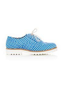 Niebieskie półbuty Zapato na sznurówki, eleganckie, na lato