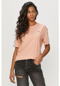 Różowa bluzka Fila casualowa, na co dzień, z aplikacjami