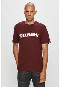 Brązowy t-shirt Element z nadrukiem, z okrągłym kołnierzem
