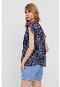Niebieska bluzka Pepe Jeans krótka, na ramiączkach