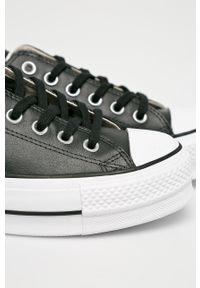 Czarne tenisówki Converse z cholewką, z okrągłym noskiem, na platformie, na sznurówki