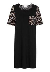 Cellbes Koszula nocna w cętki Czarny female ze wzorem/czarny 50/52. Kolor: czarny. Materiał: jersey