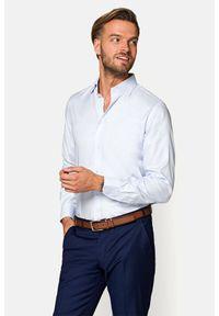 Lancerto - Koszula Błękitna w Mikrowzór Audrey. Kolor: niebieski. Materiał: bawełna, jeans, tkanina, wełna. Wzór: haft