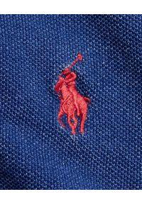 Ralph Lauren - RALPH LAUREN - Granatowa koszulka polo Slim Fit. Typ kołnierza: polo. Kolor: niebieski. Materiał: materiał, bawełna, prążkowany. Długość: długie. Wzór: haft, ze splotem