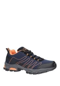 Casu - granatowe buty sportowe sznurowane softshell casu b1531-3. Kolor: niebieski. Materiał: softshell. Styl: sportowy