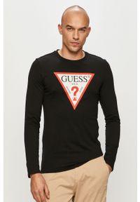Czarna koszulka z długim rękawem Guess na co dzień, z nadrukiem