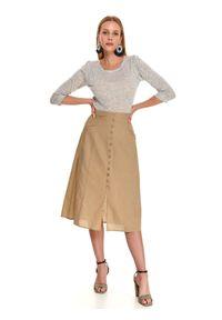 TOP SECRET - Sweter długi rękaw damski luźny. Okazja: do pracy, na co dzień. Kolor: szary. Materiał: materiał, wełna. Długość rękawa: długi rękaw. Długość: długie. Sezon: jesień. Styl: casual