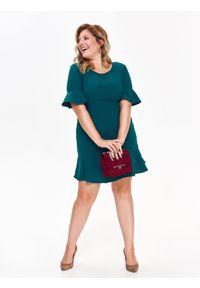 Zielona sukienka TOP SECRET na jesień, z falbankami