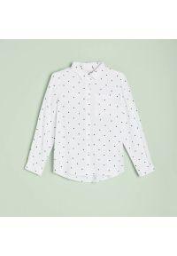 Reserved - Koszula w groszki - Biały. Kolor: biały. Wzór: grochy