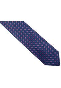 Modini - Granatowy krawat męski w czerwone kwiaty D245. Kolor: niebieski, czerwony, wielokolorowy. Materiał: tkanina, mikrofibra. Wzór: kwiaty