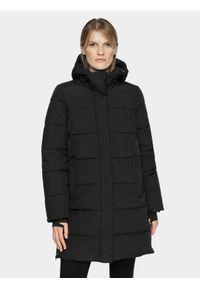 Czarna kurtka zimowa 4f długa, na co dzień, casualowa