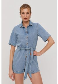 Billabong - Kombinezon jeansowy. Okazja: na co dzień. Kolor: niebieski. Materiał: jeans. Długość rękawa: krótki rękaw. Długość: krótkie. Wzór: gładki. Styl: casual