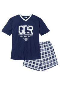 Piżama z krótkimi spodenkami bonprix ciemnoniebiesko-biały. Kolor: niebieski. Długość: krótkie. Wzór: nadruk