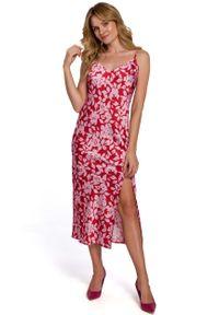 MOE - Długa Sukienka w Kwiaty na Ramiączkach - Model 1. Materiał: poliester. Długość rękawa: na ramiączkach. Wzór: kwiaty. Długość: maxi